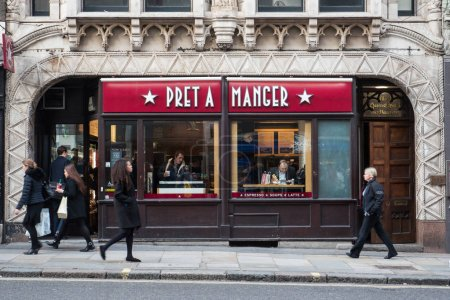 LONDON, UK - CIRCA JANUARY, 2018: People in front of Pret A Manger restaurant. Pret A Manger is a British sandwich retail chain, the first shop was opened in London in 1984 by Jeffrey Hyman.