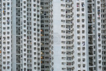 Old apartment buildings in residential area, Hong Kong.