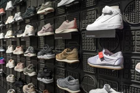 BERLIN, GERMANY - CIRCA JULY, 2017: Exposition of nike sport shoes. Nike is one of the world's largest suppliers of athletic shoes and apparel. The company was founded on January 25, 1964.