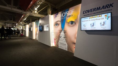 Photo for BOLOGNA, ITALY - MARCH 16, 2018: Inside Cosmoprof exhibition, the largest beauty and cosmetic sector trade show in Italy. - Royalty Free Image