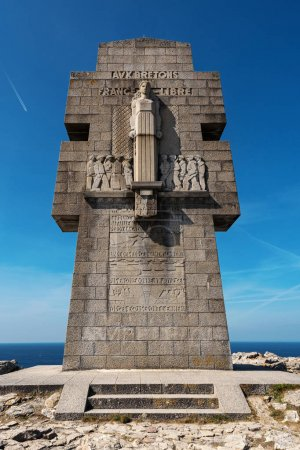 Photo for World War Two monument to the Bretons of Free France / Cross of Pen Hir / Croix de Pen-Hir. Pointe de Pen-Hir, Brittany, France. - Royalty Free Image