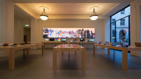 TURIN, ITALY - CIRCA FEBRUARY, 2018: Apple Store interior view. Apple Inc. is an American multinational technology company headquartered in Cupertino, California.