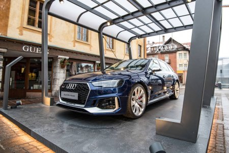 CORTINA, ITALY - CIRCA DECEMBER, 2017: Audi sportscar RS4 avant exposition in the street.