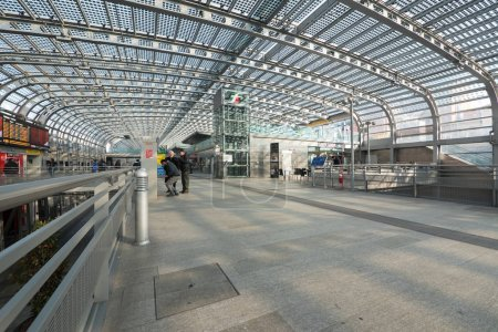 TURIN, ITALY - CIRCA FEBRUARY, 2018: Travellers in Torino Porta Susa railway station, the main central station of the city.