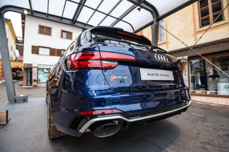 CORTINA, ITALY - CIRCA DECEMBER, 2017: Audi sportscar RS4 rear view, exposition in the street.