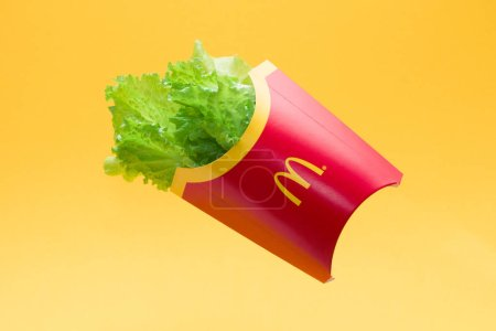 Fresh green lettuce in a package from french fries...