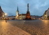 Town hall and Holy Trinity Column in  Olomouc after sunset.