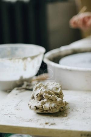 A piece of clay for pottery making