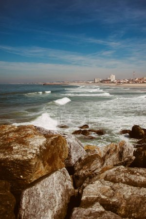 Beautiful coastline of the beach Praia de Espinho