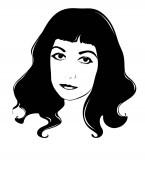 Female vector portrait Black and white graphics