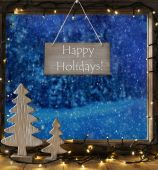 Window, Winter Forest, Text Happy Holidays