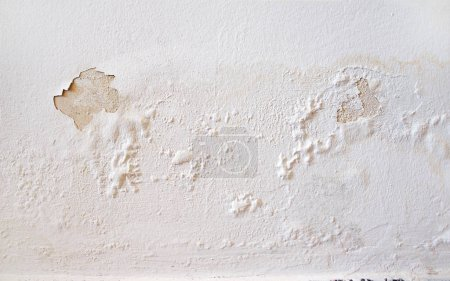 Photo pour Fuites d'eau de pluie sur le mur, causant des dommages et la peinture écaillée - image libre de droit