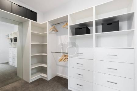 Large walk in wardrobe cabinetry details