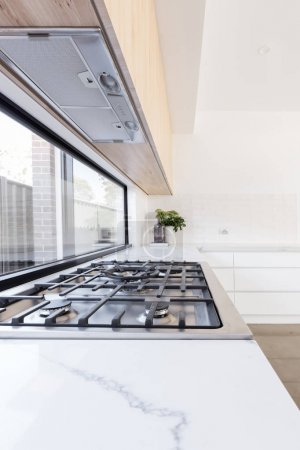 gas cooktop in a contemporary new kitchen