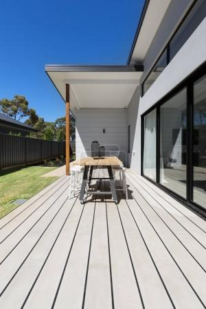 Large outdoor decking and high entertaining  table