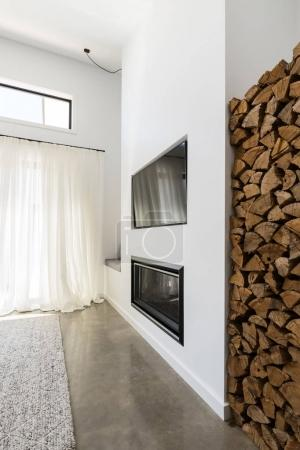 Stacked firewood alcove