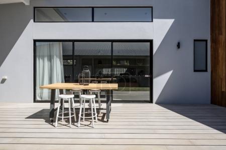 Sunny outdoor entertaining deck