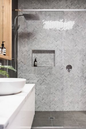 Rain shower with tile wall