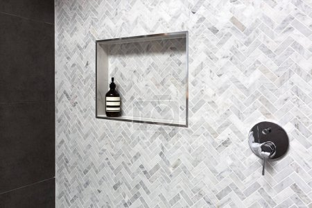 Shower shelf detail in wall