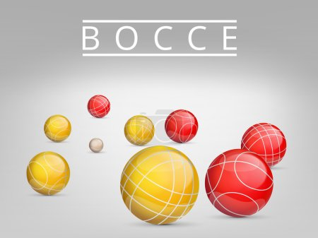 A set of balls to play bocce and petanque. Vector illustration.