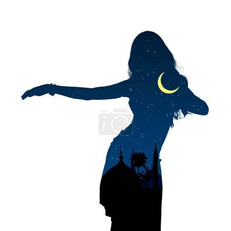 Young girl dancing oriental belly dancing. Silhouette of girl dancing Arabic dance. Night landscape. Vector illustration