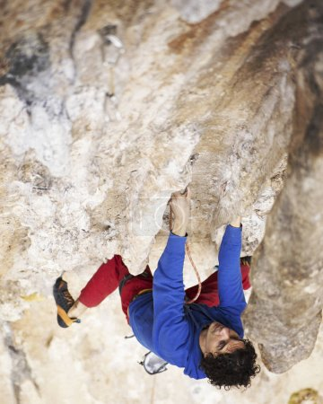 Rock-climbing in Turkey. The climber climbs on the route.