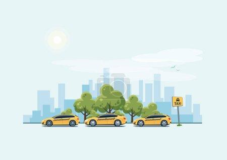 Illustration pour Illustration vectorielle de voitures de taxi jaune stationnant le long de la rue de la ville dans le style dessin animé. Hatchback, break et berline debout dans une rangée avec un panneau de point de ramassage de taxi. Arbres verts et gratte-ciel de la ville en arrière-plan . - image libre de droit