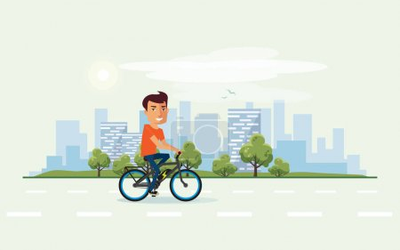 Illustration for Vector illustration of a smiling man riding an electric bicycle in the city park in cartoon style. Healthy lifestyle cyclist enjoys trip on ebike. Urban skyline building landscape with trees behind the person on bike. - Royalty Free Image
