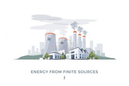 Vector illustration of polluting electric energy f...