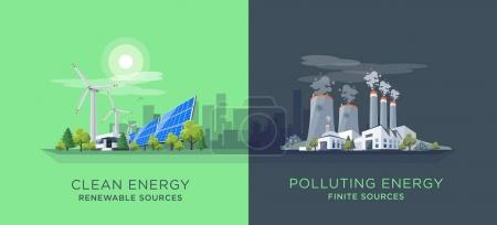 Vector illustration showing clean and polluting el...