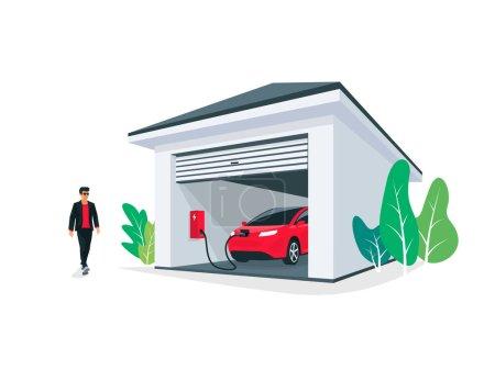 Illustration pour Rouge électrique ev parking charge à la maison garage mur boîte chargeur station stand à la maison. Système intelligent de stockage d'énergie de batterie. Illustration vectorielle isolée sur fond blanc . - image libre de droit