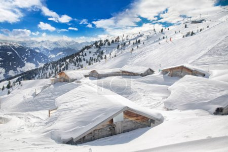 Trees covered by fresh snow in Alps