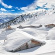 Trees and houses covered by fresh snow in Alps wit...