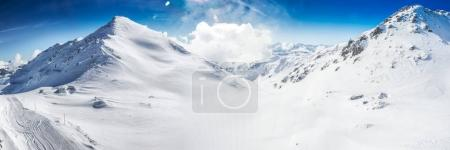 Stunning view of Tyrolian Alps covered by fresh sn...