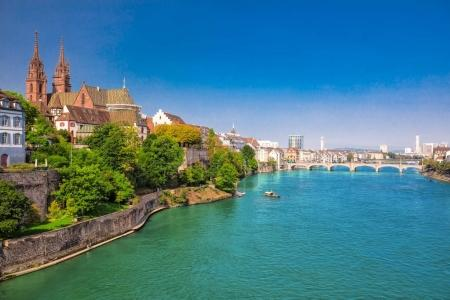 Old city center of Basel with Munster cathedral an...