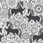 Fairytale pattern with  unicorns on a floral background Black and white