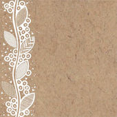 Vector illustration with a vertical floral ornament on kraft paper
