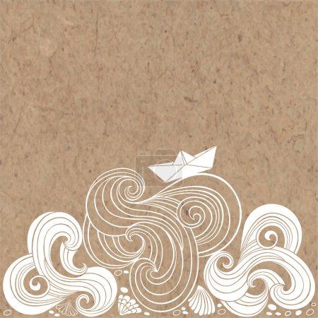 Marine background on kraft paper.