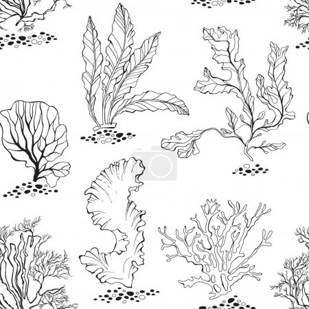 Seamless pattern with underwater plants