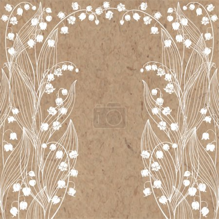craft paper texture with lily flowers