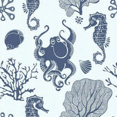 Underwater world Seamless pattern with seahorses octopus and  plants