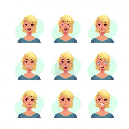 Illustration pour Fille visage expression, ensemble d'illustrations vectorielles de dessin animé isolé sur fond bleu. Femme blonde emoji visage icônes, symboles d'expressions humaines, ensemble d'avatars féminins avec différentes émotions - image libre de droit