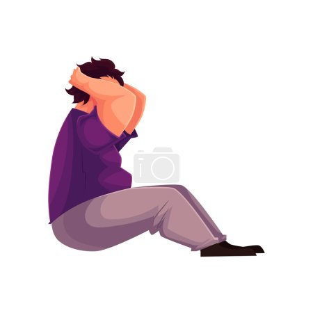 Fat man doing sit ups cartoon vector illustration