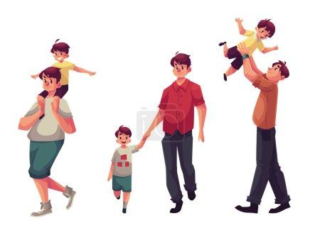 Illustration pour Père et fils, ensemble d'illustrations vectorielles de dessins animés isolés sur fond blanc. Papa portant le petit fils sur les épaules, le jetant dans l'air et marchant ensemble en se tenant la main, concept de famille heureuse - image libre de droit