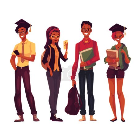 Illustration for Group of full height black college, university students with books and phones, cartoon style illustration isolated on white background. Male and female African American students in casual clothes - Royalty Free Image