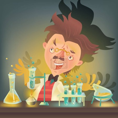 Illustration for Bushy haired mad professor in lab coat experimenting with flasks sitting at the table, cartoon illustration. Crazy comic scientist, mad professor, chemist, doctor - Royalty Free Image