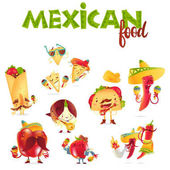 Set of happy Mexican food characters playing musical instruments