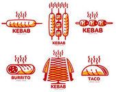 Set of stylized kebab burrito taco logo templates vector illustration