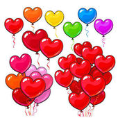 Big set of bright and colorful heart shaped balloons set of various arrangements cartoon vector illustration isolated on white background Multicolored heart balloons party decoration elements