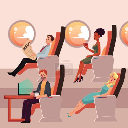 Set of male and female airplane passengers in business class